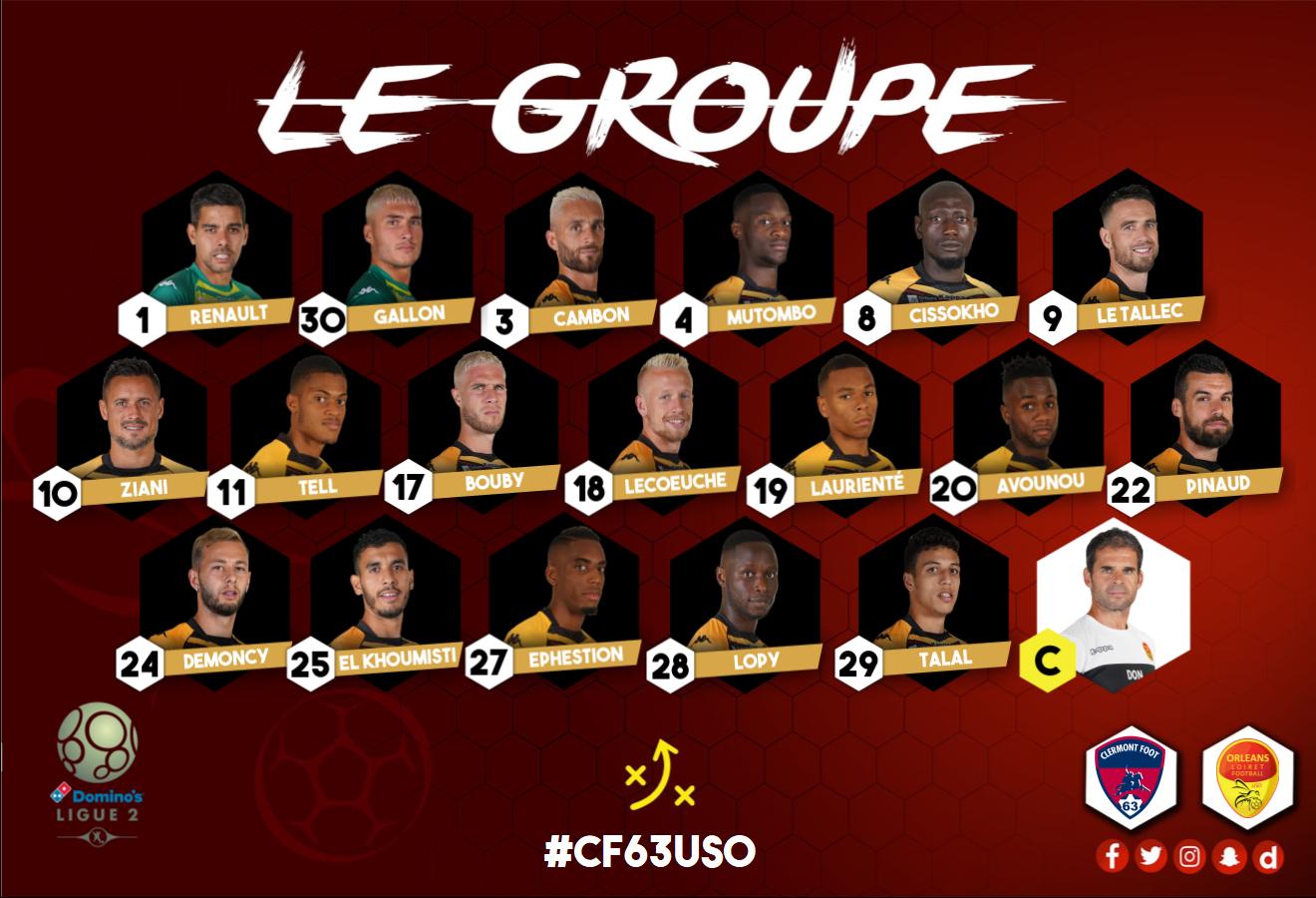 14ème journée  Clermont Foot 63 (11ème) - US Orléans ( 7ème)   (3-0) Groupe-cf63uso