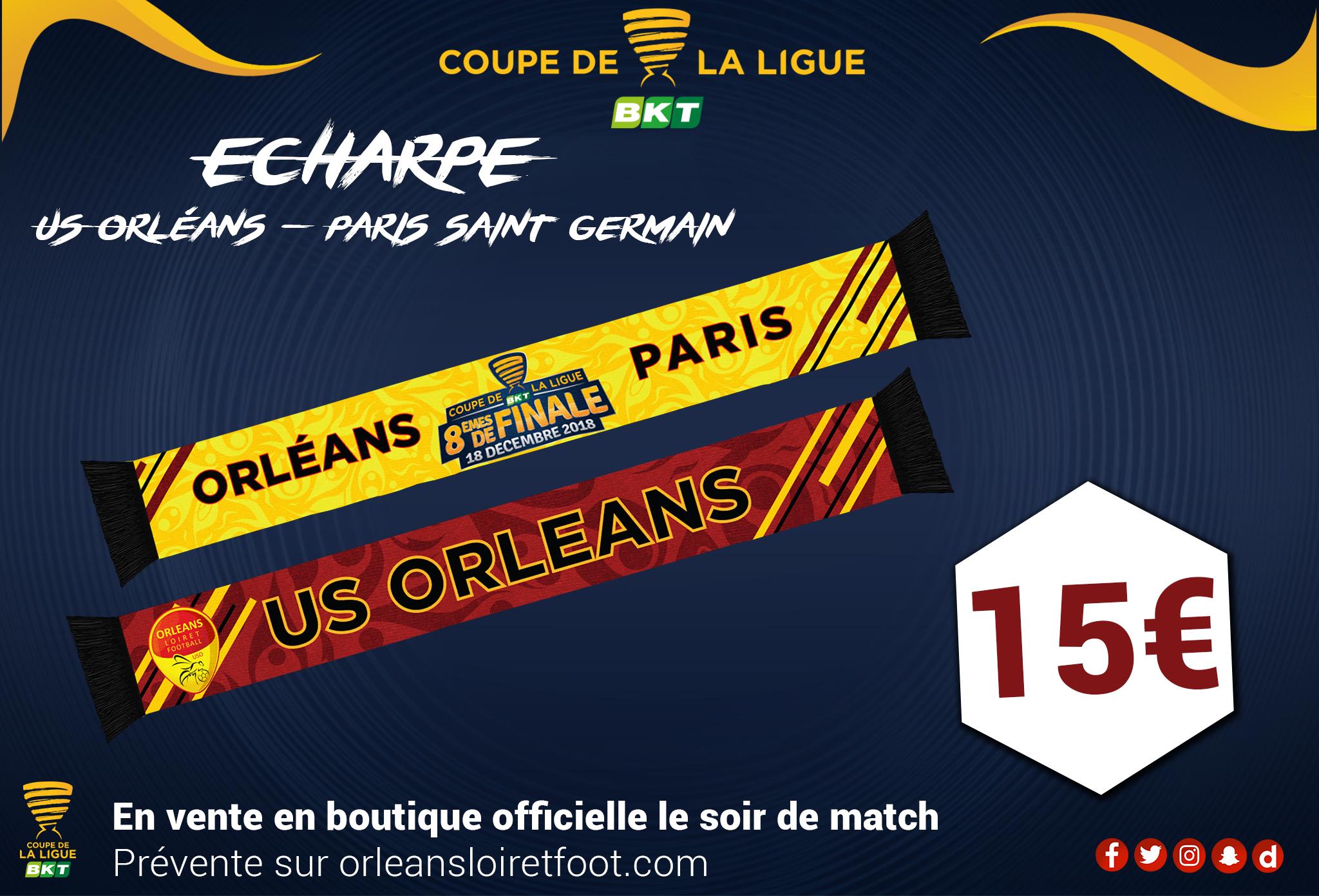 choisir authentique expédition gratuite nouveau sommet Prévente des écharpes USO-PSG - US Orléans Loiret foot
