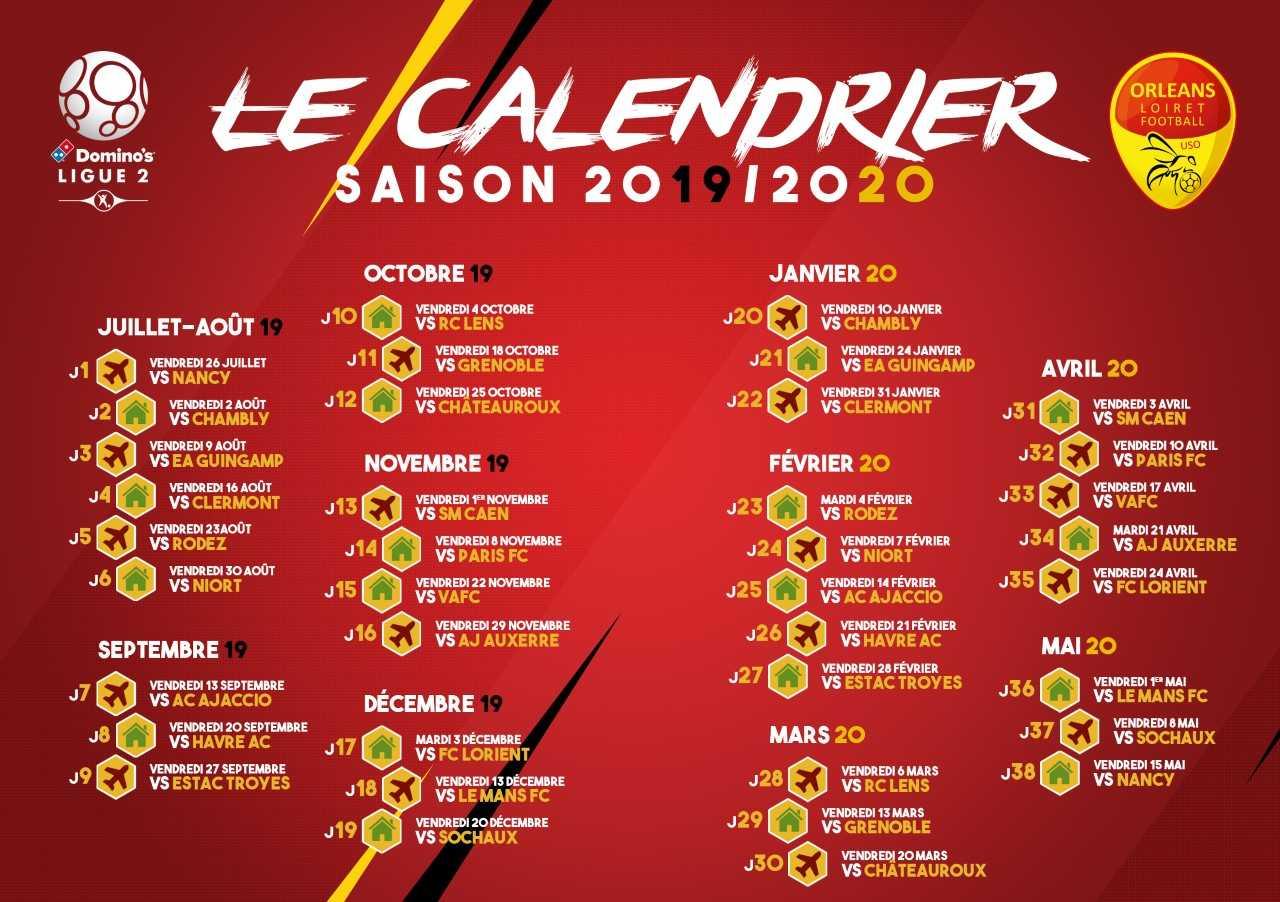 Calendrier Foot 2019 2020.Le Calendrier 2019 2020 Est Disponible Us Orleans Loiret